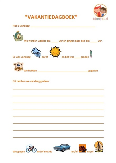 Eerste bladzijde vakantiedagboek